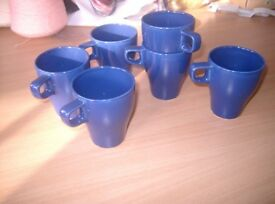 Set of 6 blue pottery stacking mugs