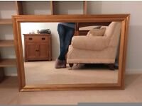 Shabby chic large wall mirror with antique gold surround