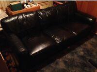 Black Leather Three Seater Sofer