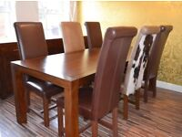Walnut dining table, 6 high back real leather chairs & 4 door matching sideboard