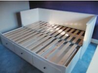 White IKEA Hemnes extendable Day Bed with 3 drawers sofa