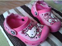 Girls Hello Kitty Crocs clogs.