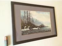 Vintage Watercolour Painting Lakeland Swans