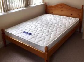 King Size Double bed with 2 mattress and cushion head rest