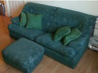 Green 3-seater sofa + 2 armchairs + footstool