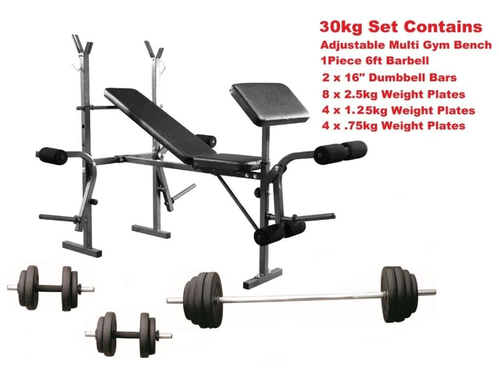 Weight Training Bench with Full home Gym Training Set From Only £90 | in  Appleton, Cheshire | Gumtree