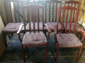 Set of 6 Mahogany effect chairs good general condition