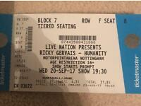 Ricky Gervais Tickets 20th September Nottingham Arena £50
