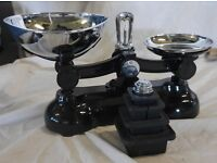 Boots Traditional Cast Iron Kitchen Scales and Metric Weights - Black and Silver