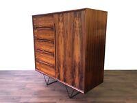 Retro Danish Rosewood Sideboard Cabinet Storage Drawers Industrial Legs Vintage Mid Century Modern
