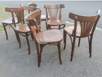 6 x FAMEG Bentwood Bistro Fan Back Side Chairs Walnut