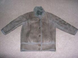 Ladies grey sheepskin/suede blouson style coat.