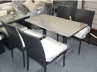 Ex Display Rattan and Aluminium 4 Seat Garden Dining Bar Set in Black or Brown