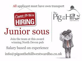 Juniour Sous Chef @pigonthehillwestwardho