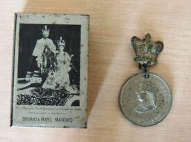 Royal Memorabilia - Queen Victoria 'medal' , George V Silver Jubilee matchbox, Charles & Di Wedding