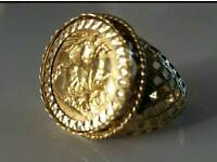 22ct gold half sovering ring approx Z1/2