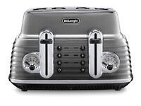 De'Longhi Scultura CTZ4003.GY 4 Slice Toaster - Gunmetal Grey 1800W