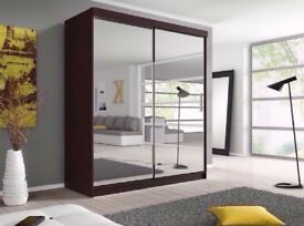 ==120 CM WIDTH ==Brand New German Berlin Full Mirror 2 Door Sliding Wardrobe w/ Shelves, Hanging