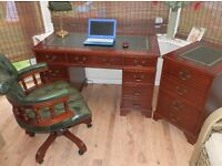 Antique Style Leather Top Desk with matching 2 drawer filing cabinet & Chesterfield Captain Chair