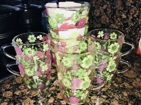 Tea/juice glasses and matching glass bowls