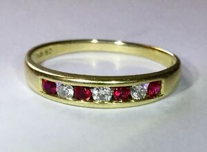 Solid 10K MHJ Yellow Gold Ruby & Diamond Eternity Ring (rrp $849) Parkwood Canning Area Preview