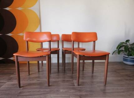 4 Retro Orange Parker Danish Teak Dining Chairs, Can Deliver