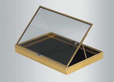Gold Aluminum Glass Case Showcase Led Light Black Pad Theft Guards Usa New