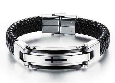 Men's Black Genuine Leather Titanium Stainless Steel Cross Braided Bracelet 8.5""