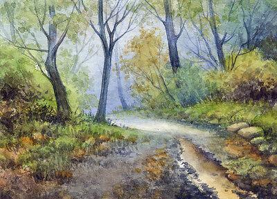 ACEO Original Miniature Watercolor Landscape by Elena Mezhibovsky
