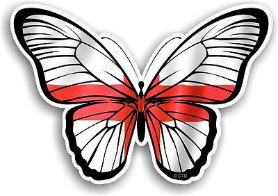 Bonita Mariposa Diseño & Cruz de San Jorge Bandera de Inglaterra Coche...