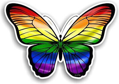 30cm Bonito Mariposa & Lgbt Orgullo Gay Arco Iris Bandera Adhesivo para Coche