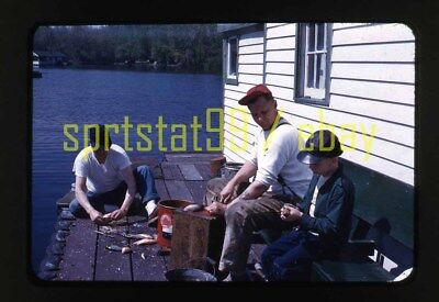 1950s Dad Teaching Son How to Clean Fish on Dock - Vintage Red Border 35mm Slide