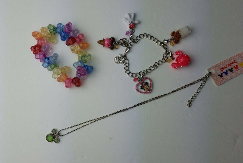Mickey Elastic Strung Plastic Rainbow Bracelet, 5 Charmed Bracelet, 1 necklace