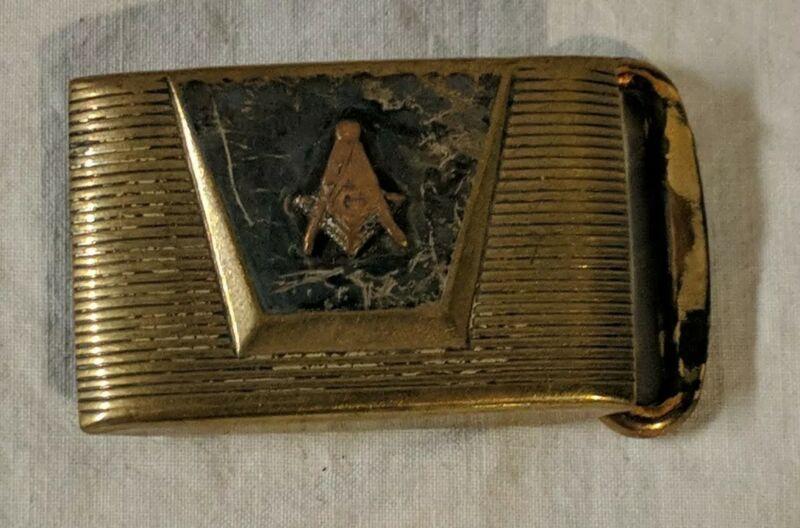 Hickok Zinc Alloy Masonic Freemason Belt Buckle Blue Enamel