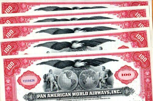 1958 Pan American World Airways Stock Certificates Set of Five (5)  #2
