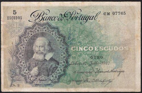 PORTUGAL 5 ESCUDOS 1920 P:120 F+