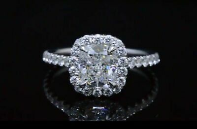 1.90 Ct Cushion U-Pave Diamond Ring Halo Engagement Ring GIA G,VS2 14K Natural  2