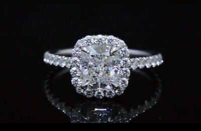 3.21 Ct Cushion Cut Diamond Halo Engagement Bridal Ring Set G, VVS2 GIA Natural 4