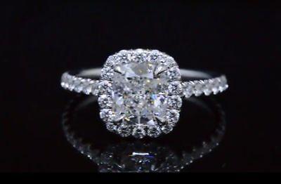 Platinum 4.18 Ct Cushion Cut Diamond Round Pave Engagement Ring  H VS1 GIA 4