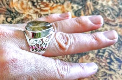 Rutilated Quartz GEMSTONE Ring, Adjustable, 925 Sterling Silver!