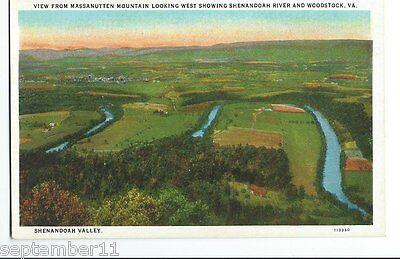 Postcard Massanutten Mountain Looking West Shenandoah River   Woodstock  Va