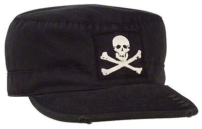 Jolly Roger Fatigue Cap (Vintage Style Fatigue Cap Hat Black Jolly Roger Skull Pirate Rothco)