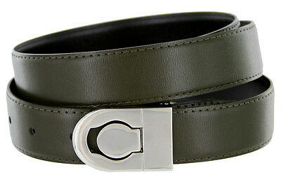 Belt Olive Green (Leather Dress Belt, Olive Green with Nickel Plated Channel)