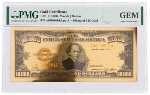 1928 $10,000 24KT Gold Certificate Commemorative PMG GEM Uncirculated