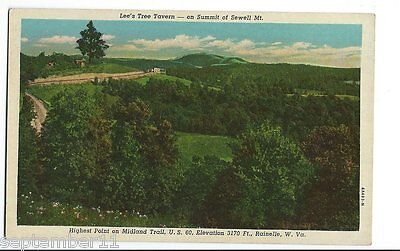 Postcard Lee's Tree Tavern Summit Sewell Mt. Midland Trail Rainelle, W.VA. US 60 (Midland Tree)