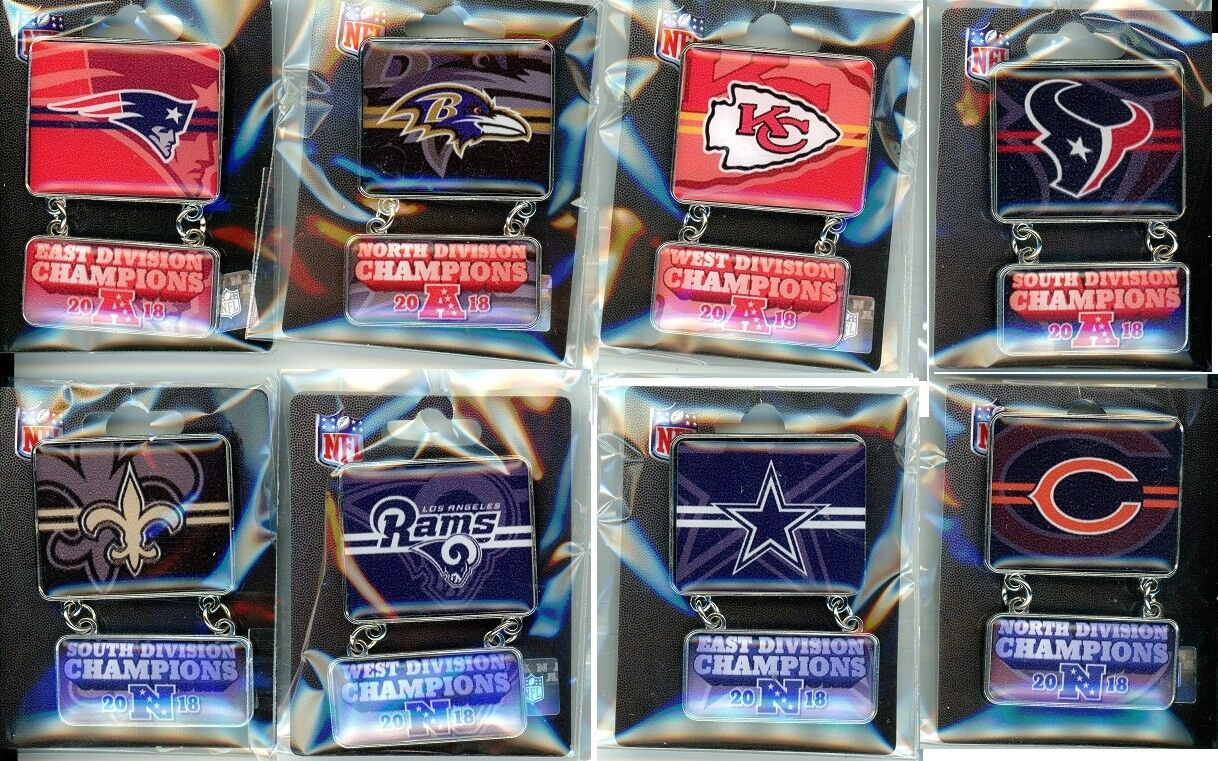 2018 Division Champion Dangle Pins Pin Choice NFL Playoffs Super Bowl 53 LIII