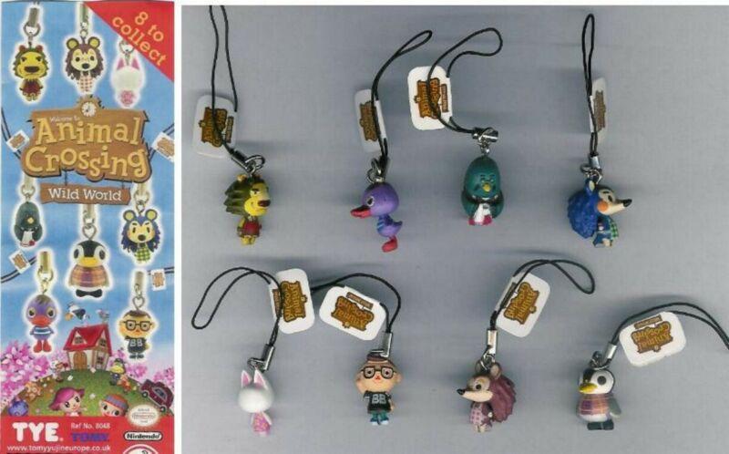 Rare Set 8 Mini Figures 1 3/16in Animal Crossing Danglers Genuine TOMY gashapon