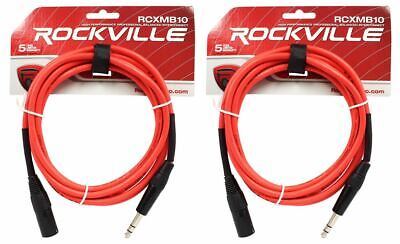 2 Rockville RCXMB10-R Red 10' Male REAN XLR to 1/4'' TRS Balanced Cables