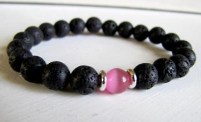 Bead Healing 8mm Men pink cats eye Stone Beads Bracelets mala Stretchy cuff
