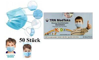 Medizinische Maske Kinder Einweg-Schutzmasken Kindermasken CE Typ2 3-lagig blau